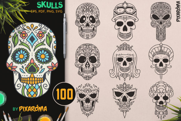 100 Decorative Vector Skulls Graphic Illustrations By pixaroma