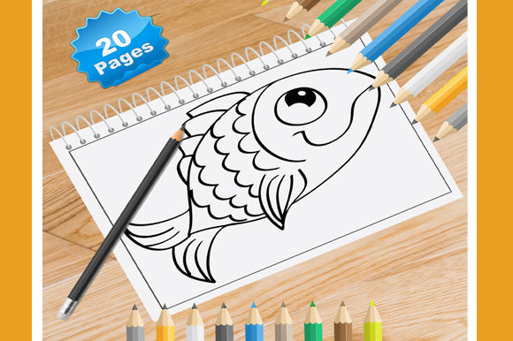 Print on Demand: 20 Gold Fish Coloring Pages Graphic Coloring Pages & Books By Coloring World