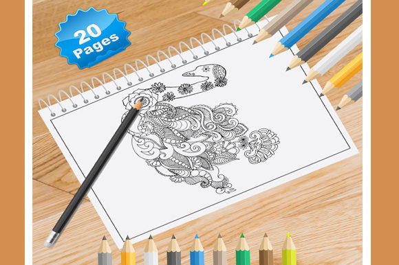 Print on Demand: 20 Swan Coloring Pages for Adults Graphic Coloring Pages & Books Adults By Coloring World