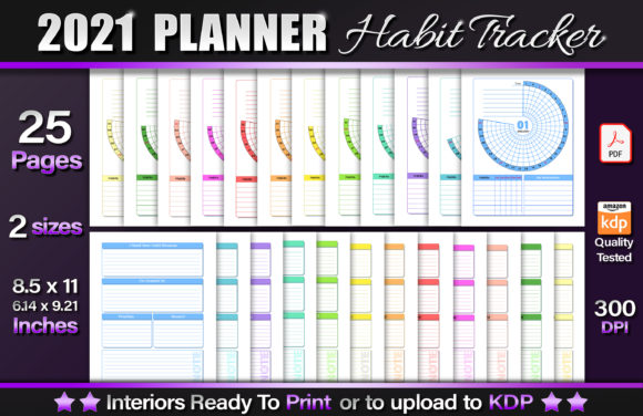 2021 Planner Habit Tracker Graphic KDP Interiors By okdecoconcept