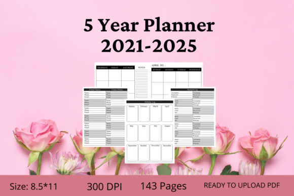 2021-2025 Fiver Years Planner Graphic KDP Interiors By KDPWarrior