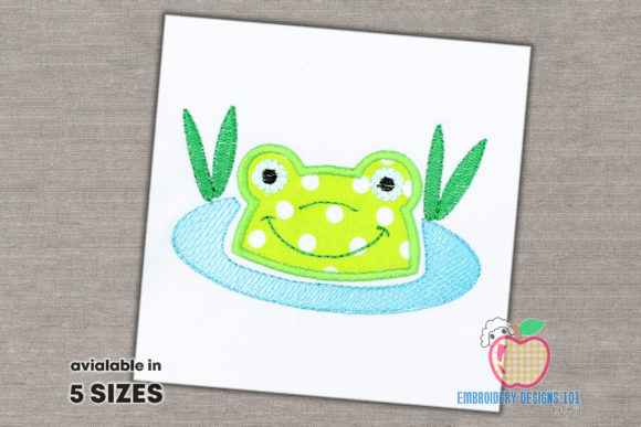 Aqua Frog in Water Applique Pattern Reptiles Embroidery Design By embroiderydesigns101