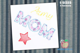 Army Mom Stitch Applique Military Embroidery Design By embroiderydesigns101