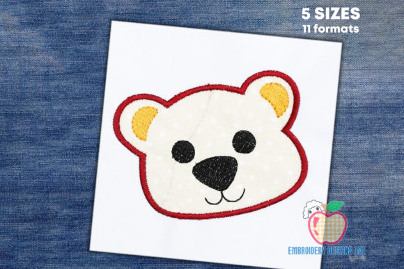Baby Bear Face Applique Pattern Embroidery