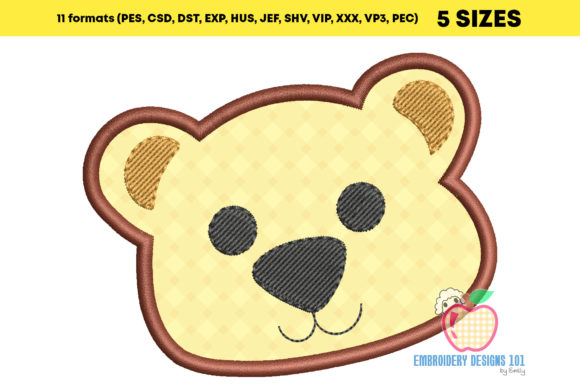 Baby Bear Face Applique Pattern Embroidery Download