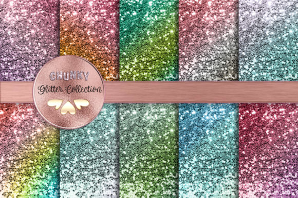 Beautiful Color Gradient Chunky Glitters Graphic Backgrounds By AM Digital Designs