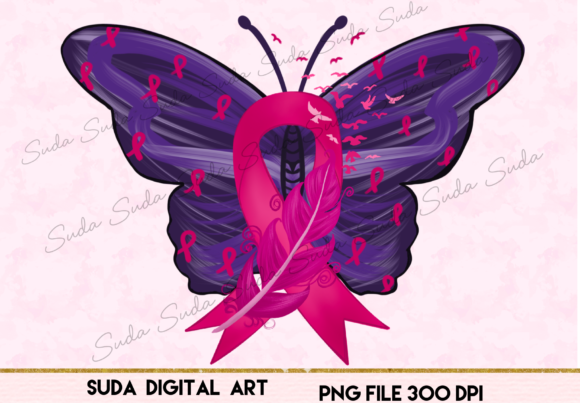 Print on Demand: Cancer Ribbon Butterfly Sublimation Graphic Illustrations By Suda Digital Art
