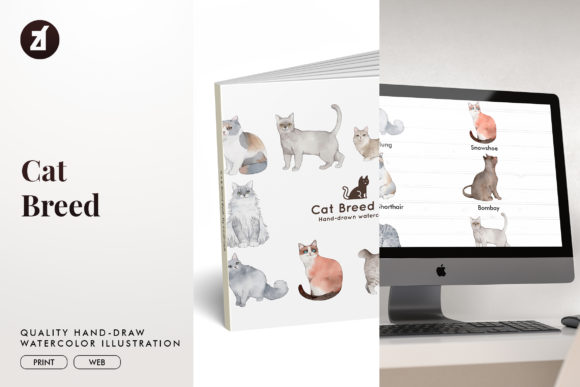 Cat Breed Set 5 Graphic Illustrations By Chanut is watercolor
