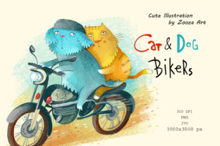 Print on Demand: Cat and Dog Bikers Graphic Illustrations By Zooza Art