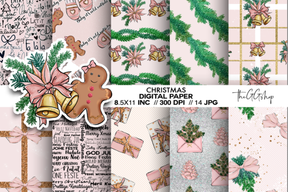 Print on Demand: Christmas Digital Scrapbook Paper Pack Grafik Backgrounds von TheGGShop