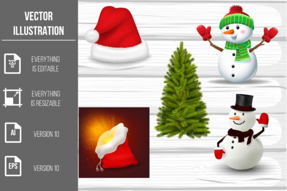 Christmas Elements Vector Clipart Graphic Illustrations By artnovi