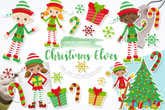 Print on Demand: Christmas Elves Graphic Graphic Templates By Prettygrafik
