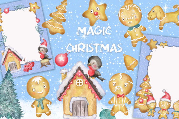 Christmas Gingerbread Men Clipart Graphic Illustrations By EvArtPrint