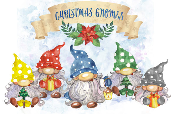 Christmas Gnomes Watercolor Clipart Graphic