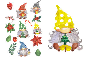 Christmas Gnomes Watercolor Clipart Graphic Illustrations By EvArtPrint 2