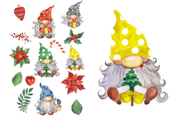 Christmas Gnomes Watercolor Clipart Graphic Download