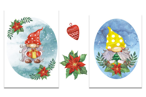 Christmas Gnomes Watercolor Clipart Graphic Item