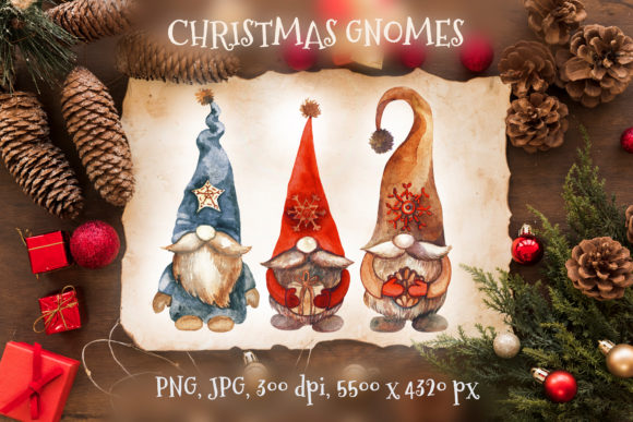 Christmas Gnomes. Watercolor Clipart Graphic