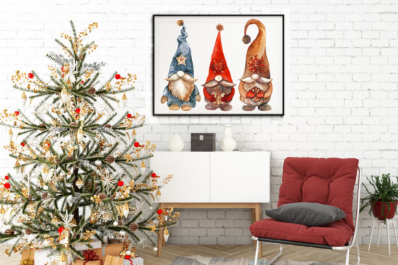 Christmas Gnomes. Watercolor Clipart Graphic Item