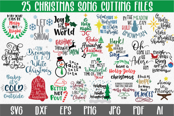 Print on Demand: Christmas Song Bundle Graphic Crafts By oldmarketdesigns
