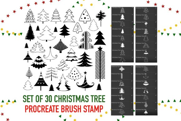 Print on Demand: Christmas Tree Stamps Brushes Procreate Graphic Brushes By Duckyjudy