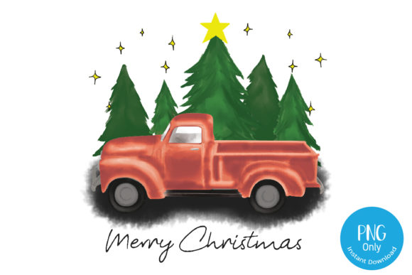 Christmas Truck and Tree Design Graphic Crafts By Tori Designs
