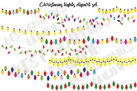 Christmas Tree Lights Clipart Holiday Graphic Illustrations By bestgraphicsonline