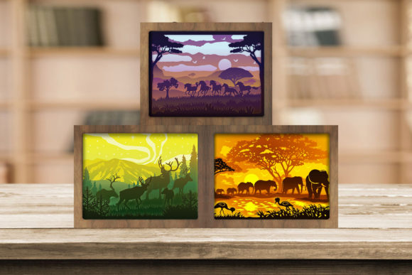 Combo 3 Templates Animals 6 Light Box Graphic 3D Shadow Box By LightBoxGoodMan