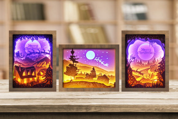 Combo 3 Templates Christmas 3 Light Box Graphic 3D Shadow Box By LightBoxGoodMan