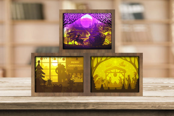 Combo 3 Templates Christmas 6 Light Box Graphic 3D Shadow Box By LightBoxGoodMan