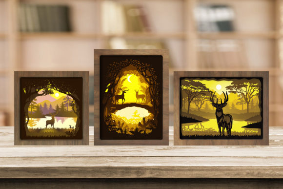 Combo 3 Templates Deer 1 Light Box Graphic 3D Shadow Box By LightBoxGoodMan