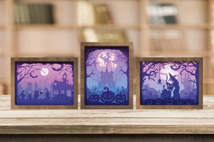Print on Demand: Combo 3 Templates Halloween 5 Light Box Graphic 3D Shadow Box By LightBoxGoodMan