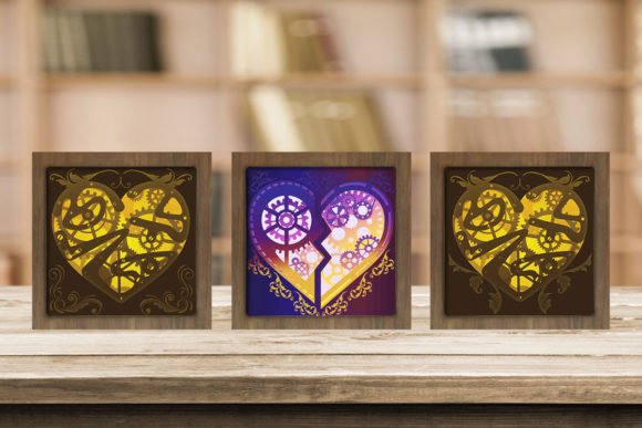 Print on Demand: Combo 3 Templates Heart Light Box Graphic 3D Shadow Box By LightBoxGoodMan