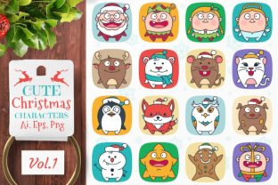 Cute Flat Christmas Characters Vol.1 Graphic Illustrations By pixaroma