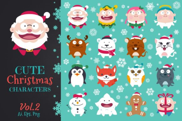 Cute Flat Christmas Characters Vol.2 Graphic Illustrations By pixaroma