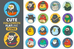 Cute Flat Halloween Characters Vol.2 Graphic Icons By pixaroma