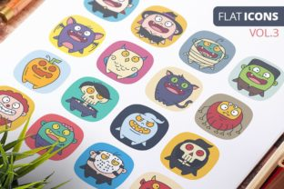 Cute Flat Halloween Characters Vol.3 Graphic Icons By pixaroma