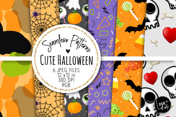 Print on Demand: Cute Halloween Seamless Patterns 09 Graphic Patterns By loyaarts