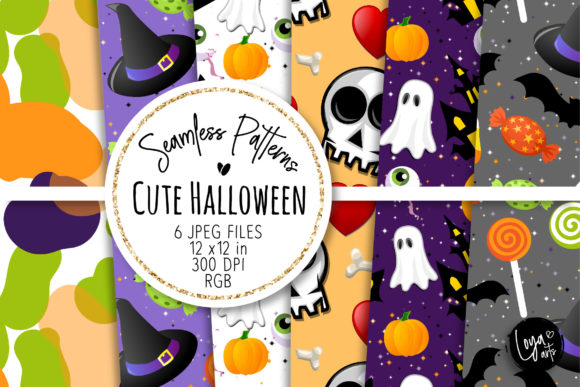 Print on Demand: Cute Halloween Seamless Patterns 8 Graphic Patterns By loyaarts
