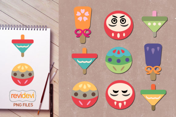 Print on Demand: Cute Japanese Toys Graphic Icons By Revidevi