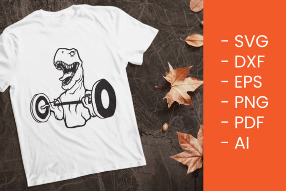 Print on Demand: Dino Lifting | SVG Cut File Graphic Crafts By Thirtypath