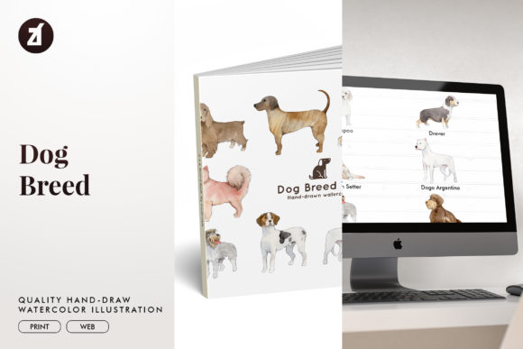 Dog Breed Set 10 Graphic Illustrations By Chanut is watercolor