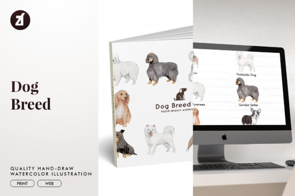 Dog Breed Set 12 Graphic Illustrations By Chanut is watercolor