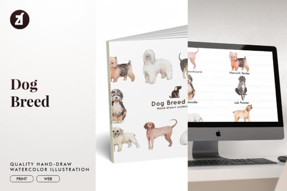 Dog Breed Set 14 Graphic Illustrations By Chanut is watercolor
