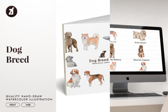 Dog Breed Set 15 Graphic Illustrations By Chanut is watercolor