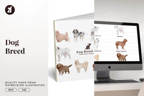 Dog Breed Set 16 Graphic Illustrations By Chanut is watercolor