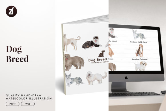 Dog Breed Set 18 Graphic Illustrations By Chanut is watercolor