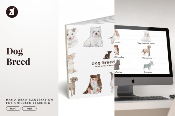 Dog Breed Set 2 Graphic Illustrations By Chanut is watercolor