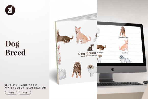 Dog Breed Set 6 Graphic Illustrations By Chanut is watercolor