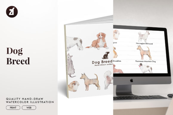 Dog Breed Set 7 Graphic Illustrations By Chanut is watercolor